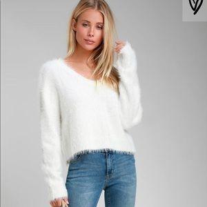 White Fuzzy Knit Sweater